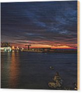 a flaming sunset at Tel Aviv port Wood Print by Ron Shoshani