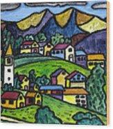 A Folksy Swiss Town Wood Print by Monica Engeler