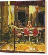 A French Cafe And Friends Wood Print by Michael Swanson