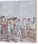 A French Coffee House Wood Print by Thomas Rowlandson