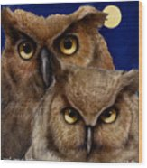 A Great Pair Of Hooters... Wood Print by Will Bullas