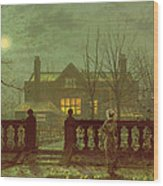 A Lady In A Garden By Moonlight Wood Print by John Atkinson Grimshaw