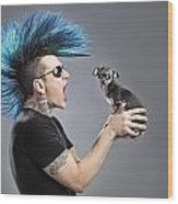 A Man With A Blue Mohawk Yells At His Wood Print by Leah Hammond