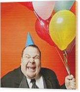 A Man With Balloons Wood Print by Darren Greenwood