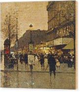 A Parisian Street Scene Wood Print by Eugene Galien-Laloue