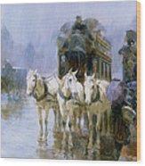 A Rainy Day In Paris Wood Print by Ulpiano Checa y Sanz