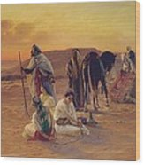 A Rest In The Desert Wood Print by Otto Pilny