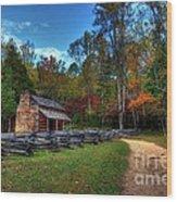A Smoky Mountain Cabin Wood Print by Mel Steinhauer