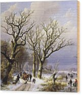 A Wooded Winter Landscape With Figures Wood Print by Verboeckhoven and Klombeck