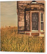 Abandoned House In Grass Wood Print by Jill Battaglia
