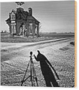 Abandoned School House And My Shadow Circa 1985 Wood Print by John Hanou