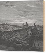 Abraham Journeying Into The Land Of Canaan Wood Print by Gustave Dore