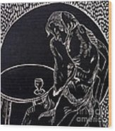 Absinthe Drinker After Picasso Wood Print by Caroline Street