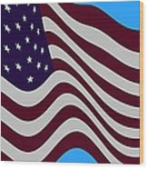 Abstract Burgundy Grey Violet 50 Star American Flag Flying Cropped Wood Print by L Brown