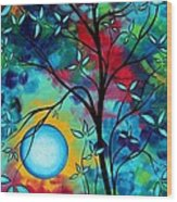 Abstract Art Landscape Tree Blossoms Sea Painting Under The Light Of The Moon I  By Madart Wood Print by Megan Duncanson