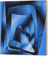 Abstract Design In Blue Contrast Wood Print by Mario Perez