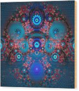 Abstract Fractal Art Blue And Red Wood Print by Matthias Hauser