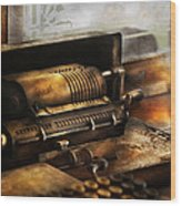 Accountant - The Adding Machine Wood Print by Mike Savad