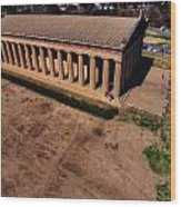 Aerial Photography Of The Parthenon Wood Print by Dan Sproul