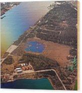 Aerial View Of Riga. Latvia. Rainbow Earth Wood Print by Jenny Rainbow