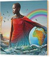 The Lupita Tsunami Wood Print by Anthony Mwangi