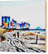 Afternoon At The Beach Wood Print by Angelia Hodges Clay