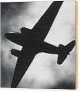 Airplane Silhouette Wood Print by Tony Cordoza