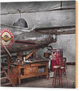 Airplane - The Repair Hanger  Wood Print by Mike Savad