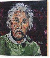 Albert Einstein Wood Print by Becky Kim