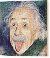Albert Einstein Impressionist Wood Print by Giuseppe Persichino
