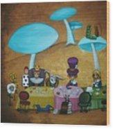 Alice In Wonderland Art - Mad Hatter's Tea Party I Wood Print by Charlene Murray Zatloukal