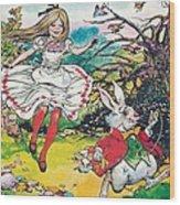 Alice In Wonderland Wood Print by Jesus Blasco