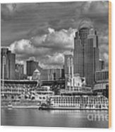 All American City Bw Wood Print by Mel Steinhauer