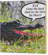 Alligator Yall Come Back Card Wood Print by Al Powell Photography USA