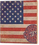 American Flag Made In China Wood Print by Tony Rubino
