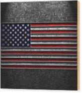 American Flag Stone Texture Wood Print by Brian Carson