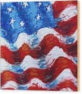 American Flag Wood Print by Venus