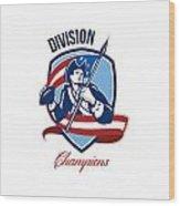 American Football Division Champions Shield Retro Wood Print by Aloysius Patrimonio