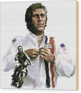 American Icon  Steve Mcqueen Wood Print by Iconic Images Art Gallery David Pucciarelli