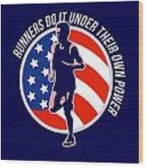 American Marathon Runner Running Power Retro Wood Print by Aloysius Patrimonio