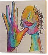 American Sign Language . . .  Mother Wood Print by Eloise Schneider