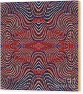 Americana Swirl Design 9 Wood Print by Sarah Loft