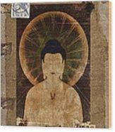 Amida Buddha Postcard Collage Wood Print by Carol Leigh