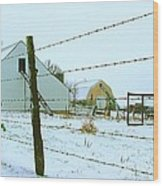 Amish Farm In Winter Wood Print by Julie Dant