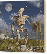 An Advanced Robot On An Exploration Wood Print by Stocktrek Images