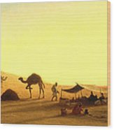 An Arab Encampment  Wood Print by Charles Theodore Frere