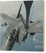 An F-15e Strike Eagle Receives Fuel Wood Print by Stocktrek Images