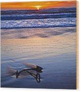 Anchor Ocean Beach Wood Print by Garry Gay