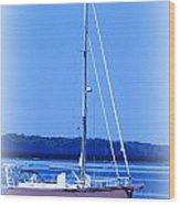 Anchored In The Bay Wood Print by Laurie Pike