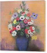 Anemones And Lilac In A Blue Vase Wood Print by Odilon Redon
